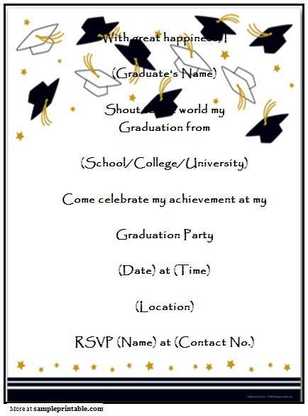 template for name cards for graduation announcements graduation invitation templates free printable