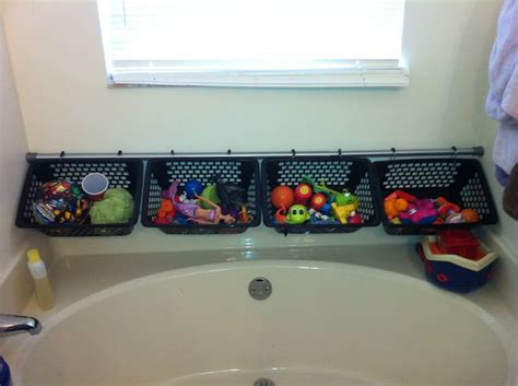 organizing kids bathroom organize kids bath toys 4 bins with holes shower rod