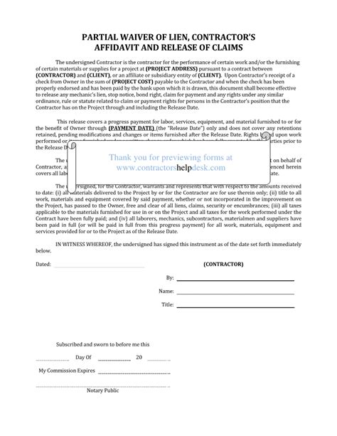 Release Of Lien Letter Project Punch List Construction Forms For Contractors Form Html Autos Weblog