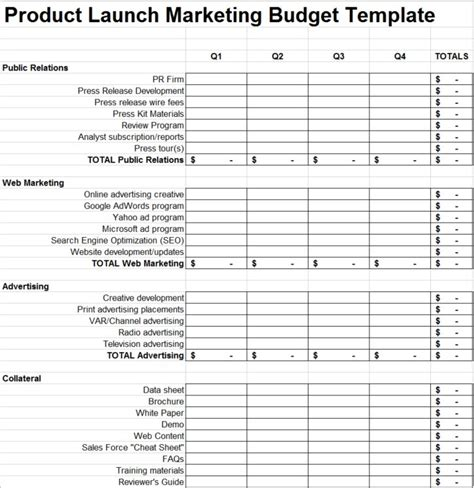 product launch plan marketing budget template 280
