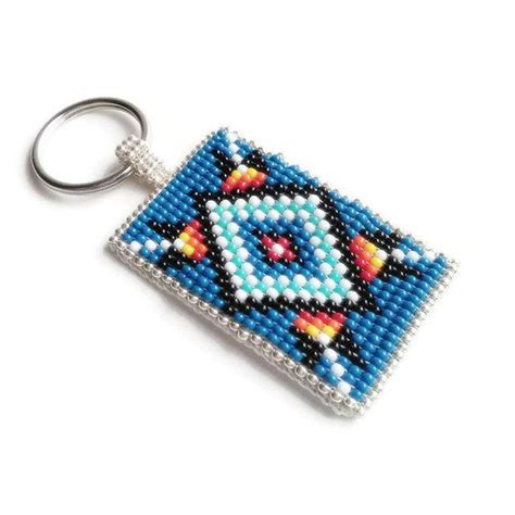 beadwork blue blue boho style beadwork keychain with