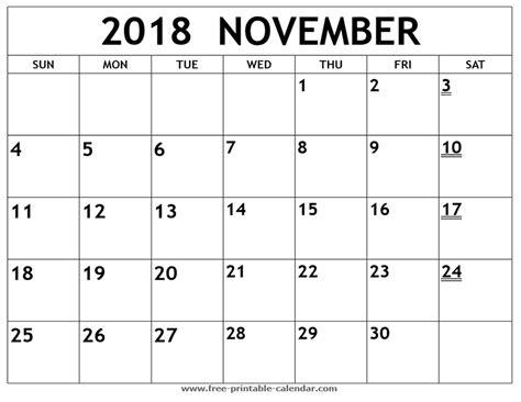 printable calendar november 2018 printable 2018 november calendar