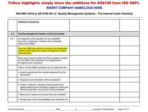 As9100 Rev D Internal Audit Checklist As9100 Store As9100 Risk Management Plan Template