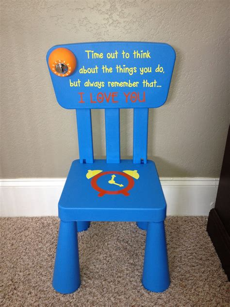 Personalized time out chair with timer swirly twirly designs