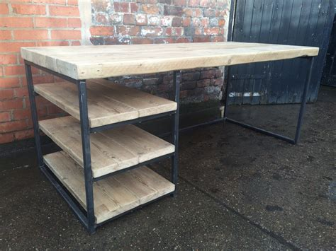 wood and steel desk reclaimed industrial chic wood desk dining with