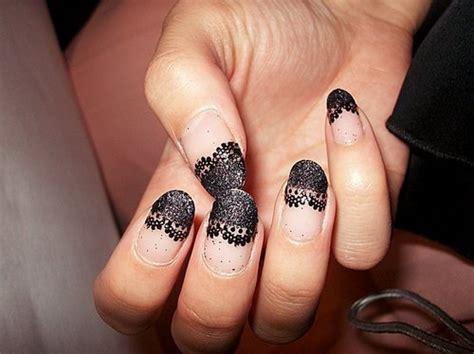 Nail Blacklace black glitter lace nailart image 345484 on favim