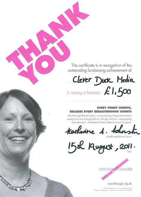 Thank You Letter For Donation For Breast Cancer Our Charities Gaming Awards