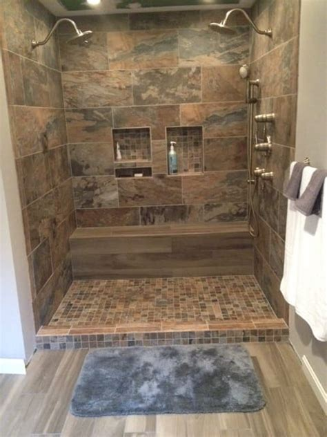 wood look tile in bathroom bathroom shower porcelain chalet 12x24 2x2 mosaic sage