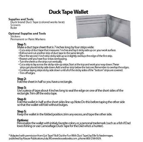 printable directions for a duct tape wallet amazon com duck brand 392874 red color duct tape 1 88