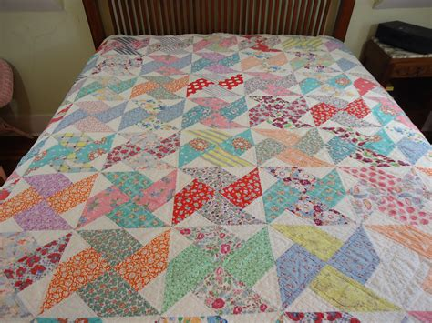 Antique Handmade Quilts - vintage handmade pinwheel quilt pastel colors by