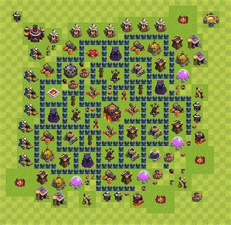 Coc Lvl 10 Th Layout | clash of clans base plan layout for trophies town hall