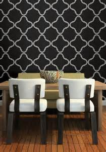 Dining Room Ideas With Feature Wall Moroccan Wallpaper Feature Wall Dramatic Black Dining Room
