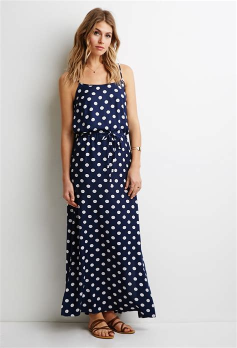 Polka Dress lyst forever 21 contemporary polka dot maxi dress in blue