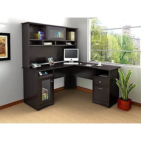 l shaped desk in espresso bush cabot l shaped computer desk with hutch in espresso