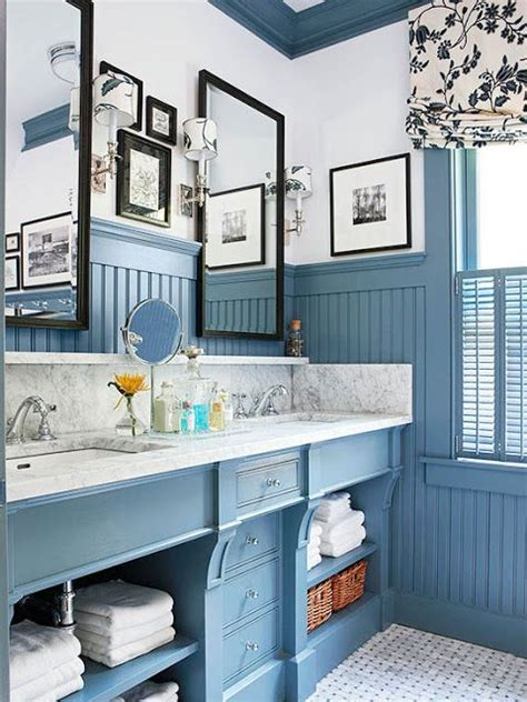 Blue Wainscoting by The Way To Handle A Coastal Cottage Bathroom Bead