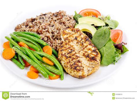 grilled chicken breast  rice stock  image