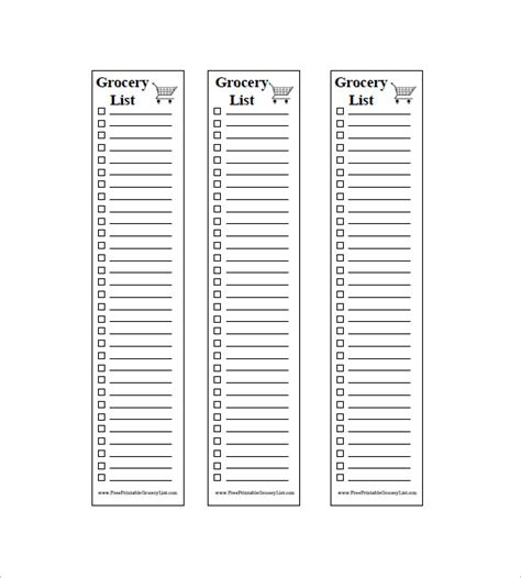 blank grocery list template 10 blank grocery list templates pdf doc xls free