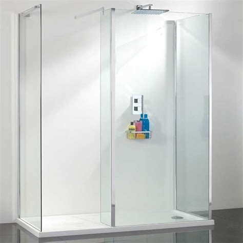Shower Doors And Walls One Wall Walk In Shower Enclosure Various Sizes One