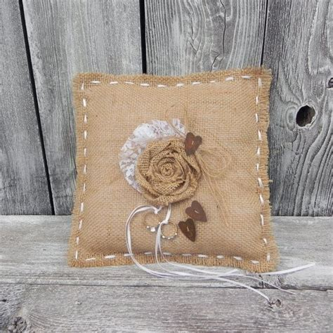 rustic shabby chic burlap and rusty heart ring pillow
