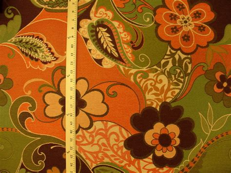 funky upholstery fabric large modern funky retro floral orange brown contemporary