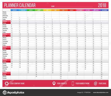 12 month planner template calendar planner for year 2018 12 months