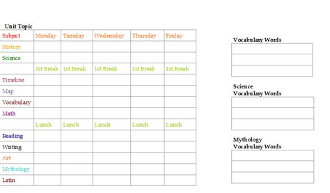 search results for weekly schedule template for kids