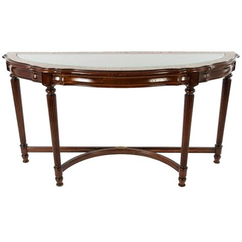 Demi Lune Tables by Vintage Glass Top Demilune Console Table For Sale At 1stdibs