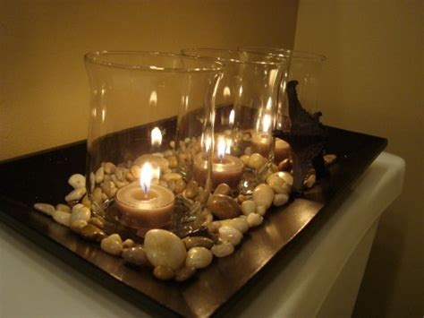 bathroom candles and accessories hurricane candles with rocks in tray for the home