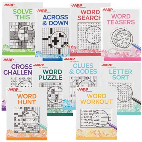 easy crossword puzzles aarp aarp large print puzzle books set of 10 aarp puzzle