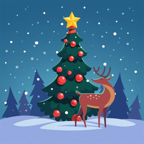 liteup xmas trees and reindeer deer vectors photos and psd files free