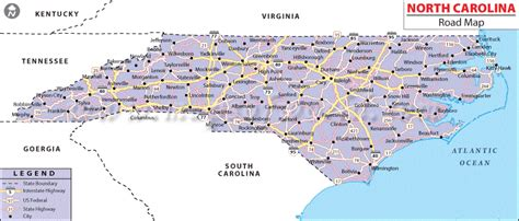 map of carolina major cities map of carolina state map of usa
