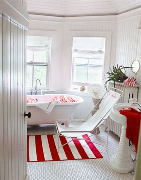 Red and white country cottage bathroom 39 cool and bold red bathroom design ideas digsdigs