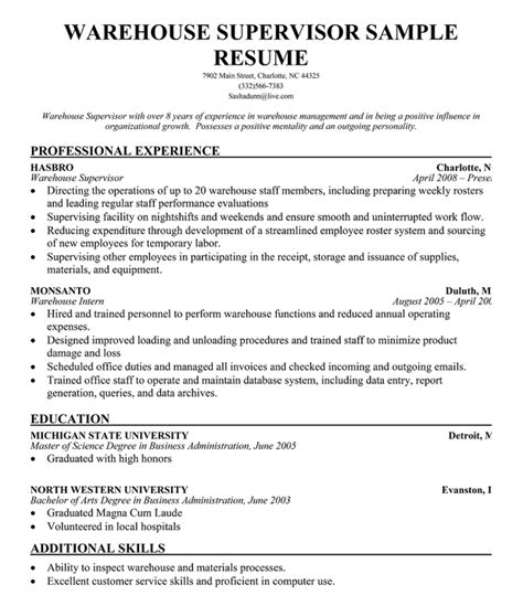 warehouse supervisor resume sles resume format resume format for warehouse
