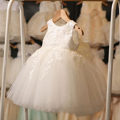 retail appliques flower girl dresses with big bow for