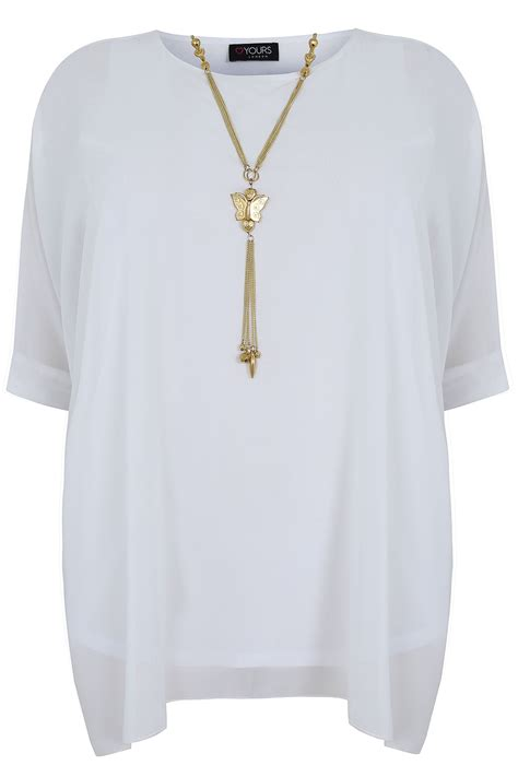 White Batwing Top Size S white batwing sleeve chiffon top with necklace plus size