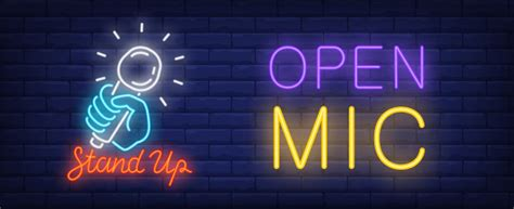 open mic  stand  neon sign bright blue hand holding