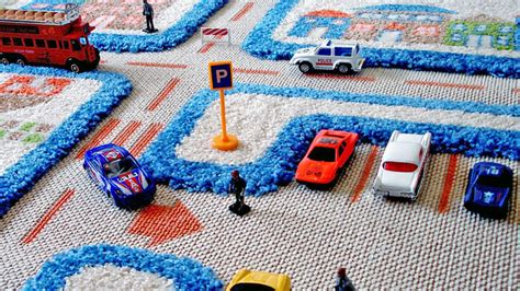 carpet playmats  hot wheels cars safely   road