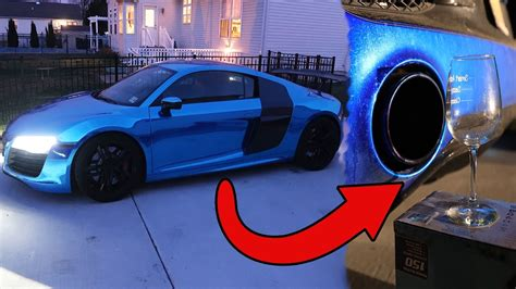 lance stewart audi r8 will it break wine glass vs audi r8 exhaust youtube