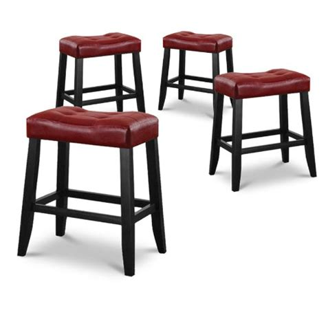 red kitchen bar stools 4 24 quot red cushion saddle back kitchen counter bistro bar