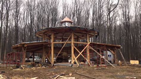 building eco wooden house round logs wooden houses circular round wood strawbale house youtube