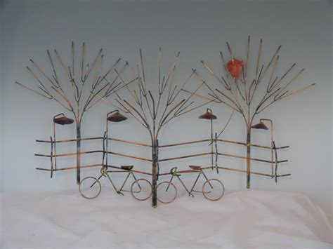 bikes and trees metal sculpture bike wall by donpoffsculptures