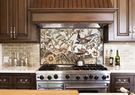 kitchen detail of custom mosaic tile traditional