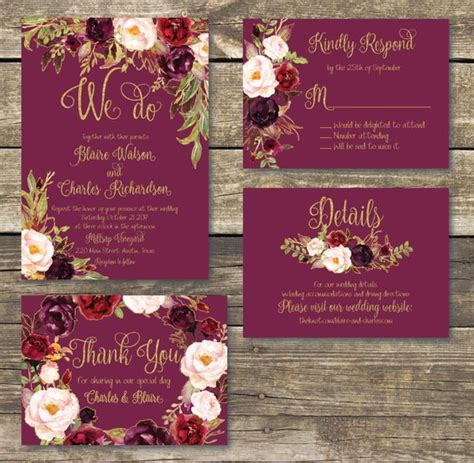 Printed Wedding Invitation Fall Floral Watercolor Wedding Gold Burgundy Marsala Wine Maroon Wedding Invitation Templates