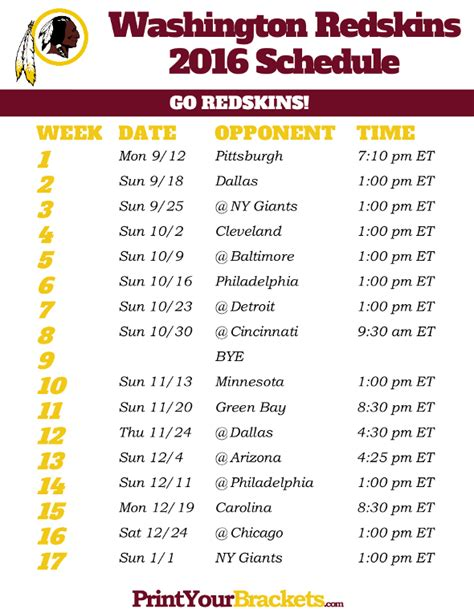 printable washington redskins schedule 2016 football season