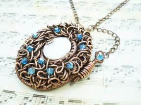 handmade wire wrapped copper locket photo locket moodart