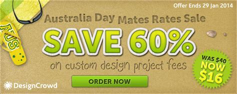 designcrowd project discount code australia day 2014 special mates rates