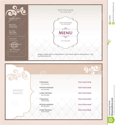 salon layout template menu spa and salon stock vector illustration of beauty