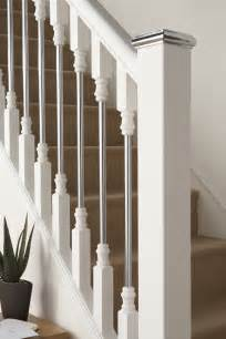 chrome banister contemporary wood banisters axxys white primed with