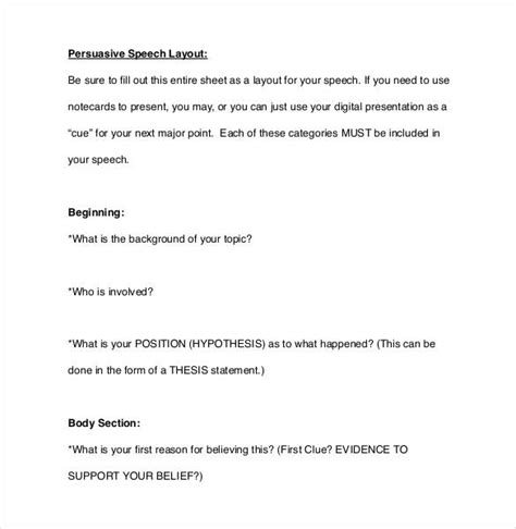 exles of layout speech 32 speech outline templates pdf word free premium