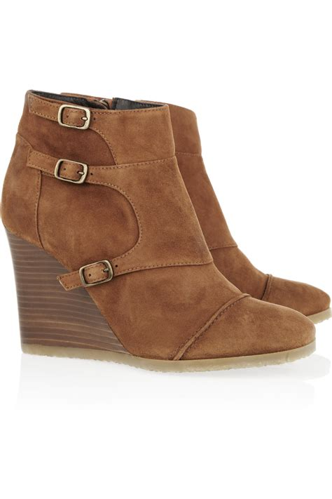 j crew ankle boots j crew greer suede wedge ankle boots in brown cognac lyst